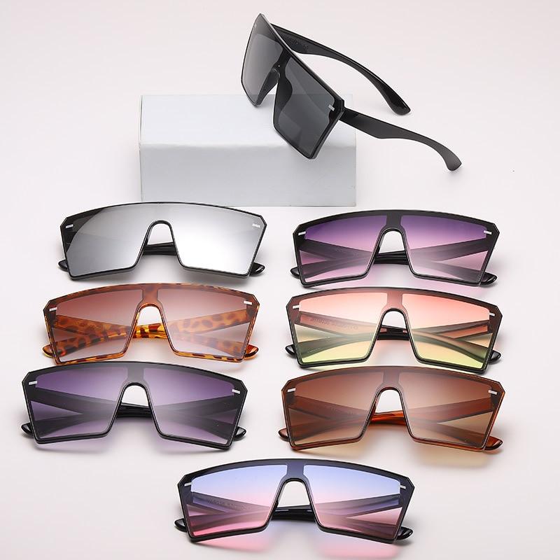 Fashion Male Flat Top Sunglasses Women Men Brand Black Square Shades UV400 Gradient Sun Glasses for