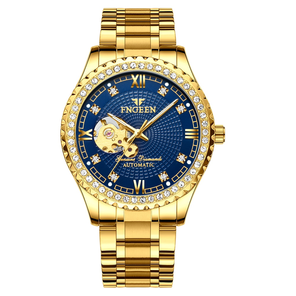Mens Watches Luxury Automatic Mechanical Watch Hollow Gear Dial Golden Stainless Steel Luminous Business Wristwatches Dropship