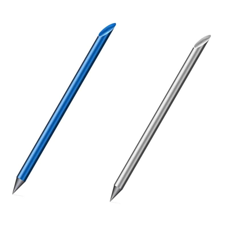 HOT-2 uds azul/plata novedad Cool Undead pluma de Metal completo de lujo pluma eterna caja de regalo Inkless pluma Beta bolígrafos escritura Stat