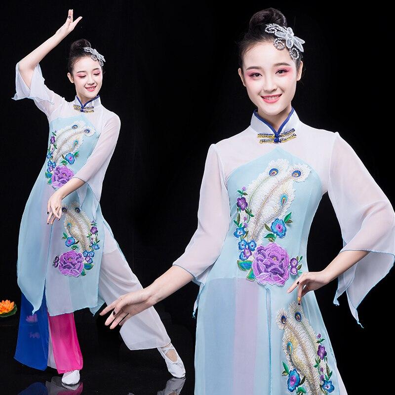 Традиционные танцевальные костюмы ханьфу в китайском стиле, женские элегантные фанатские танцевальные костюмы, одежда Янко