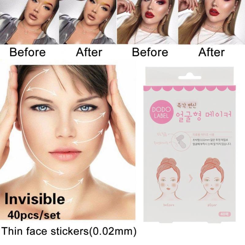 Set de 40 unidades de adhesivos faciales invisibles y delgados, línea facial, cinta adhesiva para barbilla rápida en forma de V Estiramiento facial arrugas y flaccidez DE LA PIEL