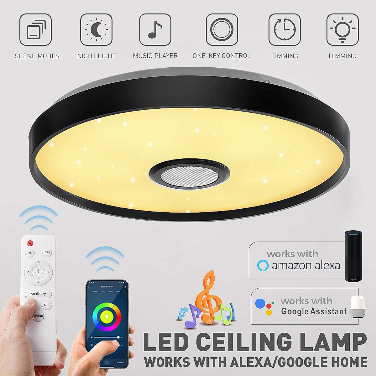 100W Modern LED Ceiling Light WiFi APP Intelligent Control Remote Control Smart Ceiling Lamp RGB Dimming Music Home Party Light