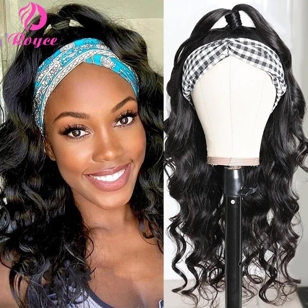 Royce Long Loose Deep Wave Headband Wig for Black Women 150% Headband Wig Peruvian Hair Wigs Body Wave Human Hair Wigs