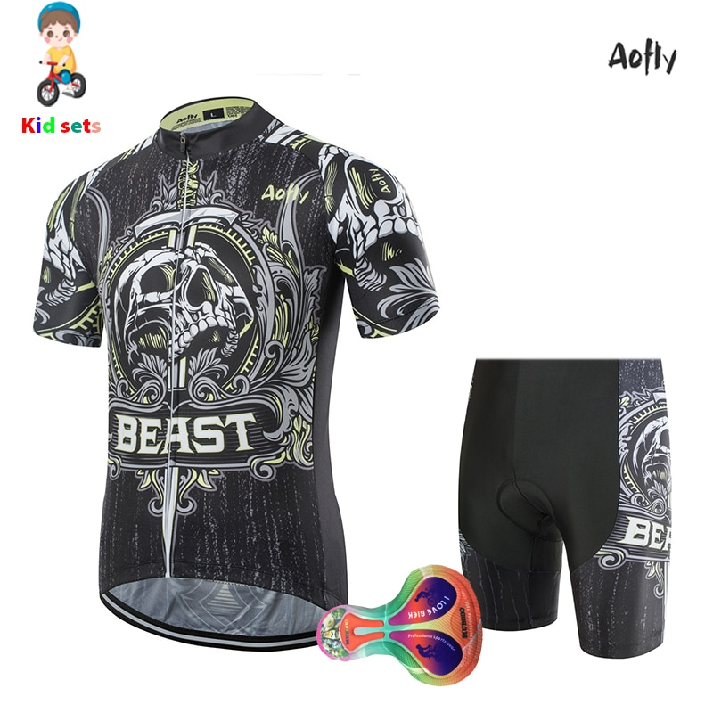 kids short sleeved cycling jersey sets 2020 BEAST quick drying Children's Balance bike clothing Cute children's printed cushion