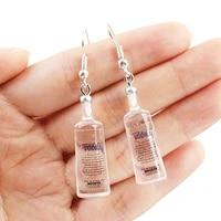 cute girls cool vodka bottle drop earrings for women funny transparent bottle dangle earrings jewelry party gift