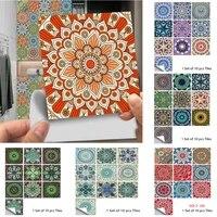 10 pieces ensemble Mandala Style cristal dur carreaux ceramique autocollant Mural cuisine garde-robe decor a la maison Art Mural Peel   Stick stickers muraux