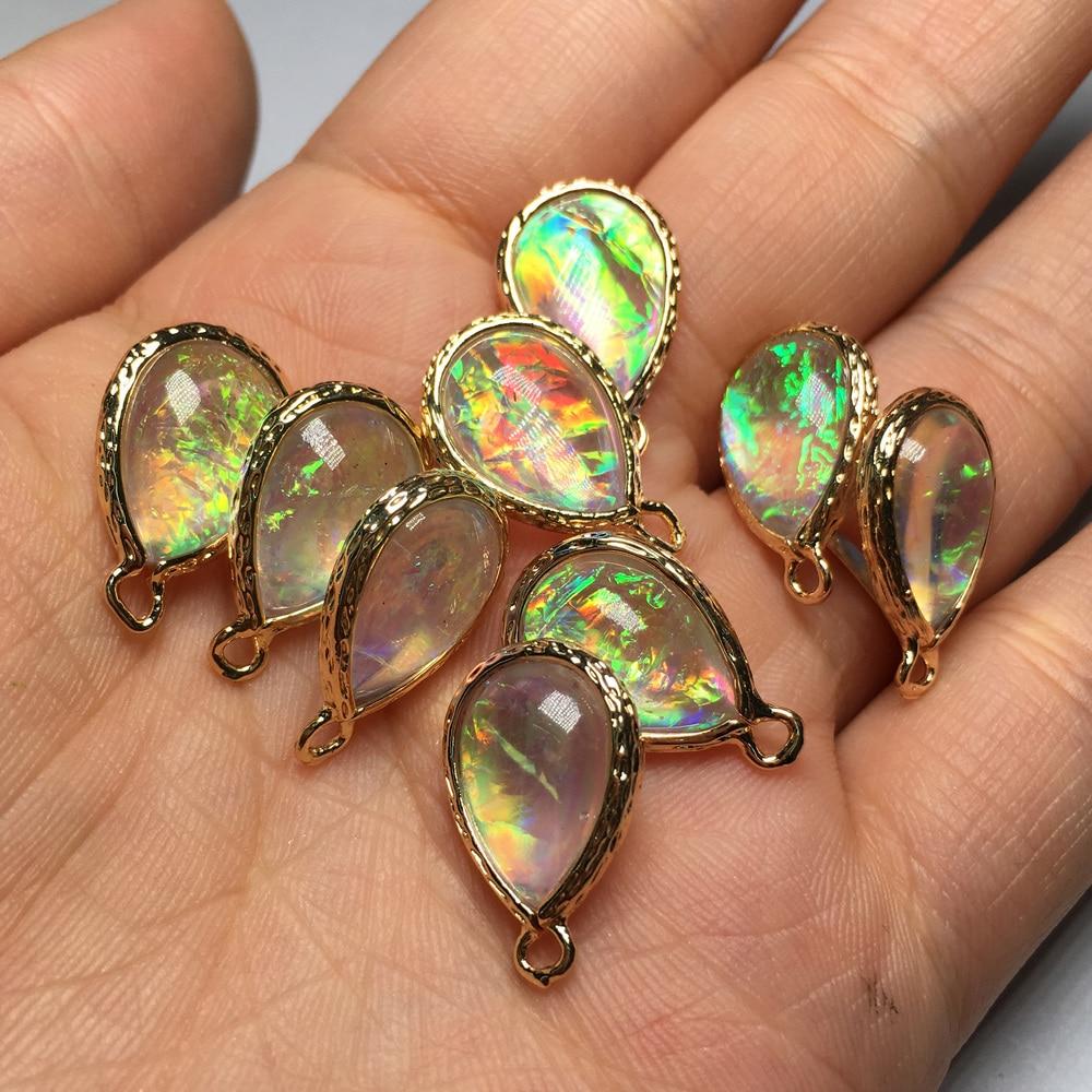Water Drop Natural Opal  Pendants & Necklace Rainbow Pendants for Jewelry Making Supplies Women Men Jewelry 13x18mm 15x23mm