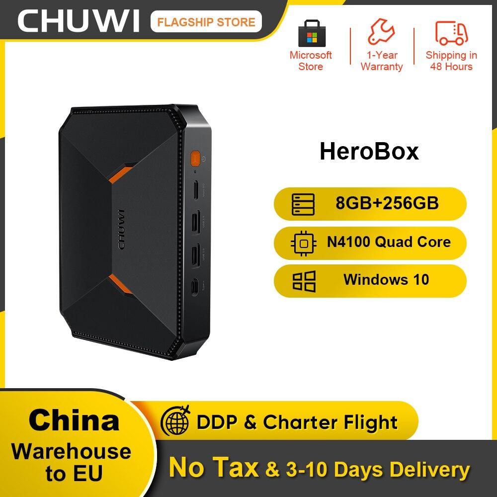 CHUWI Herobox جهاز كمبيوتر صغير ويندوز 10 نظام إنتل جيميني ليك N4100 رباعية النواة LPDDR4 8GB RAM 256G SSD