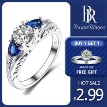 Anillos de Compromiso de boda Bague Ringen clásicos de zafiro 100% Plata de Ley 925 con piedras preciosas para mujer, joyería fina de regalo al por mayor