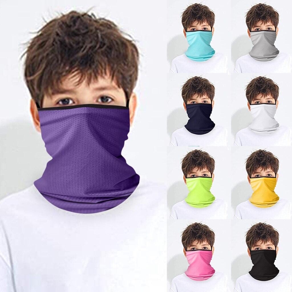 Los niños es sólido bufanda Bandana pantalla solar protección Uv máscara cuello guardia ciclismo resistente al viento cálido bufanda reutilizable diadema Unisex