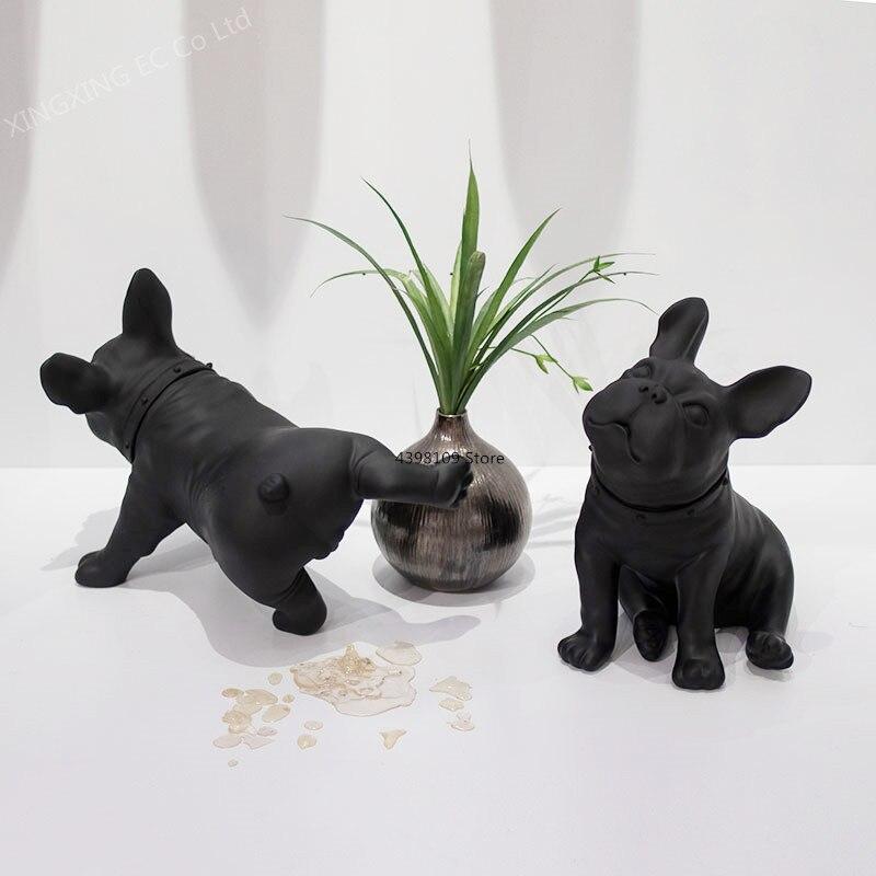 Presente de Aniversário Criativo Francês Bulldog Decoração Acessórios Nordic Simulação Cão Modelo Estátua Arte Moderna Artesanato Pvc