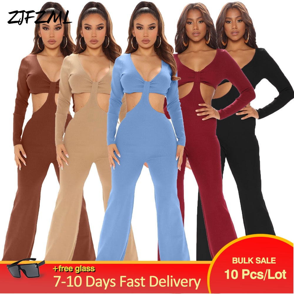 Bulk Items Wholesale Lots Women's Long Jumpsuit Elegant Fashion Long Sleeve Cut Out Backless Bell Bottom Overall Casual Outfit