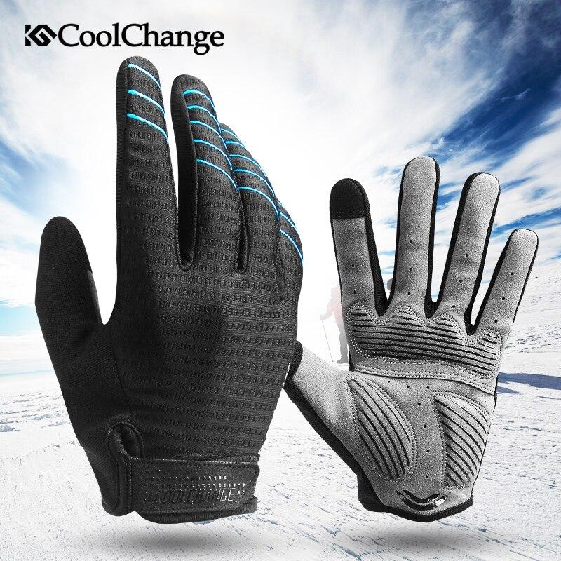 CoolChange-Guantes de Ciclismo para hombre, Dedo Largo con almohadilla de Gel, para...