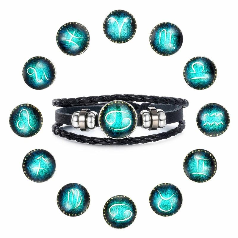 Модные светящиеся 12 созвездий браслет Знак Зодиака бусы кожаный браслет браслеты для женщин панк мужские ювелирные изделия аксессуары
