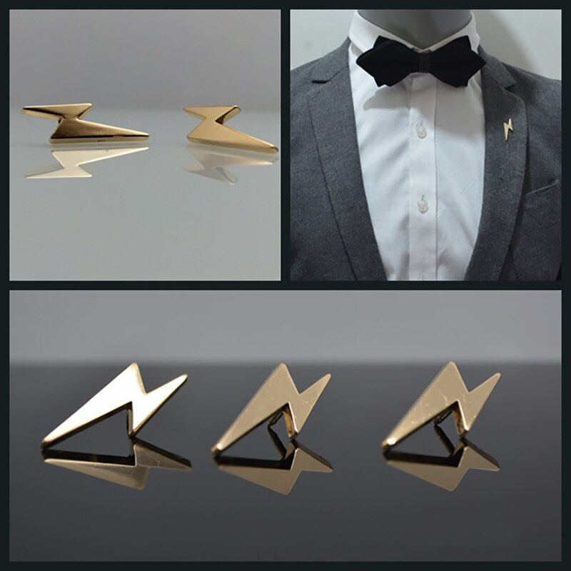 2pcs Mini Lightning Metal Lapel Pin for Men Suit Dress Decorations Badge Pins Collar Pins Mens Fashion Jewelry Accessories
