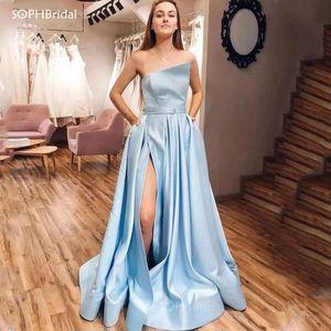 New Arrival Side Split Evening Dress 2021 Sky Blue Formal Train Prom Dress Women Long Evening Party Gown Robe de Soirée Vestidos