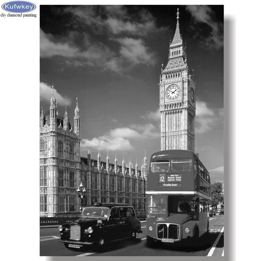 Needlework diy pintura diamante grande ben rua ônibus e torre de londres diamante bordado strass mosaico preto branco arte da parede