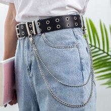 Punk belt ladies waist belts for women 2020 adjustable double eyelet pu leather ceinture femme rock