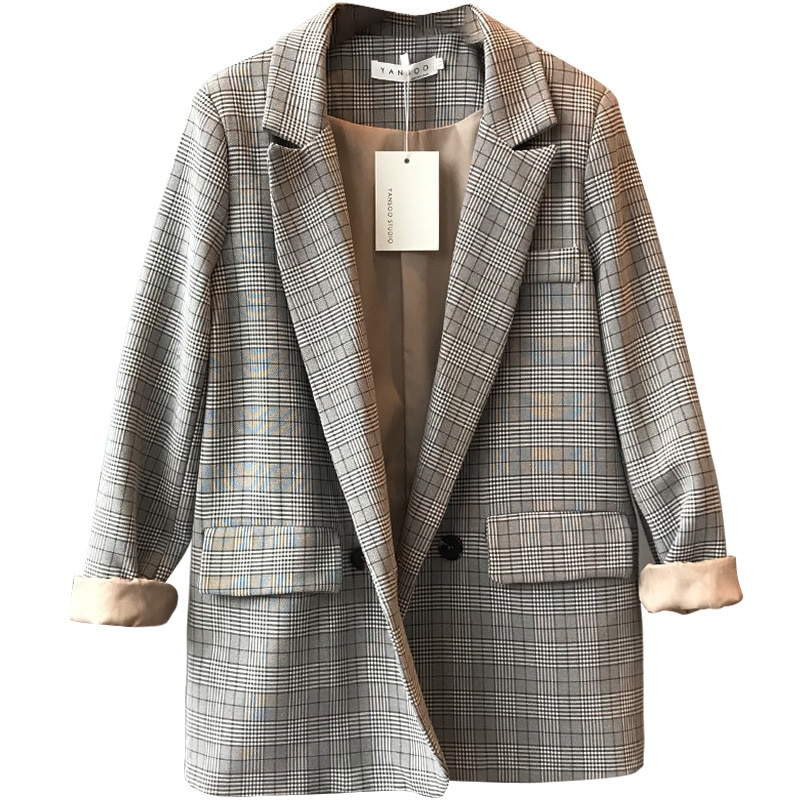 HLBCBG Office Ladies Notched Collar Plaid Women Blazer Double Breasted Autumn Jacket 2020 Casual Pockets Female Suits Coat office ladies notched collar plaid women blazer double breasted autumn jacket 2021 casual pockets female suits coat
