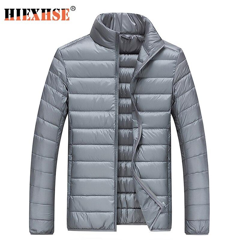HIEXHSE зимние Легкие мужские пуховики теплая портативная повседневная одежда из 90% белого утиного пуха с воротником-стойкой парная одежда