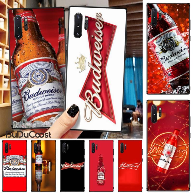 Jomy cerveza Budweiser TPU negro cubierta de la caja del teléfono del casco para Samsung Galaxy Note3 4 5 7 8 9 10 Pro M10 20 30 A3 2 310 6 7