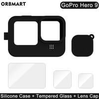 Силиконовый чехол для GoPro Hero 9 черного закаленного стекла Экран защитная плёнка для НУА вэй крышка объектива для спортивной экшн-камеры Go Pro 9...