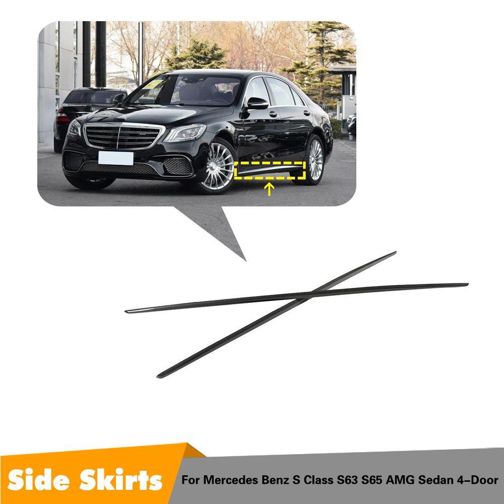 De fibra de carbono lateral para carrocería faldas Kit de labios divisores cubierta de parachoques para Mercedes-Benz Clase S deporte S65 S63 AMG 4 puerta 2014-2018