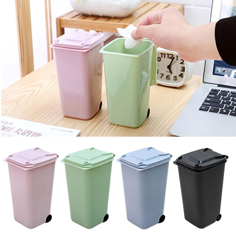 Бытовая офисная креативная мини-Мусорная Корзина Wheelie, Настольная пластиковая мусорная корзина, экологически чистые прочные аксессуары для домашнего хранения