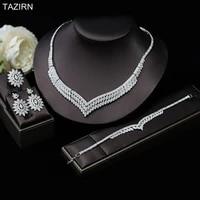 jewelry set luxury wedding dress accessories full zircon necklace bracelet earrings ring bride platinum cz birthday ornaments
