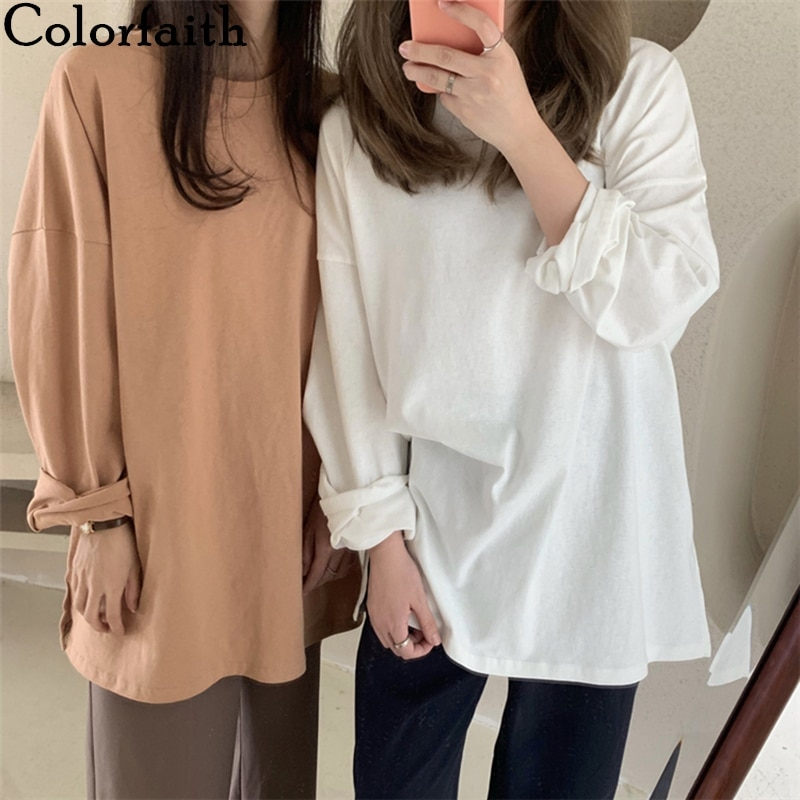 Colorfaith New 2021 Women Spring Summer T-Shirts Oversize Solid Bottoming Long Sleeve Wild Korean Minimalist Style Tops T601