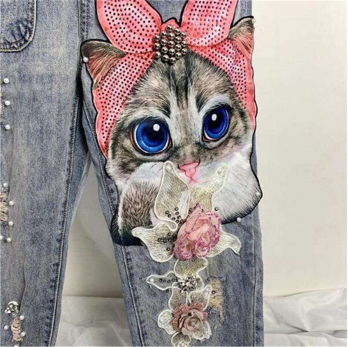 Women Print Cartoon Cat Denim Jumpsuits Rompers Overalls New Hole Loose Beading Ebay