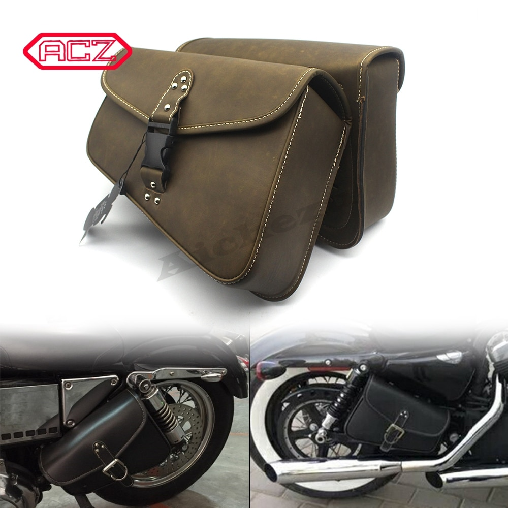 ACZ Motorcycle Artificial Leather Saddlebag for Harley Sportster XL 883 Hugger Sportster Luggage Side Bag Suit