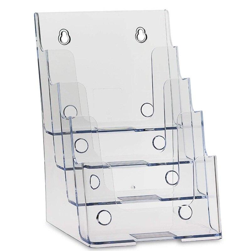 Soporte de folletos de 4 niveles de gran claridad soportes de literatura soporte de volante soporte de pantalla de plástico para 6 pulgadas W X 9 pulgadas H-media página-Mat