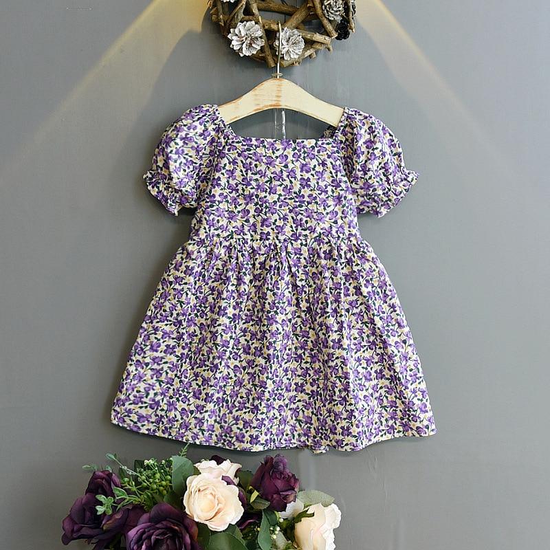 Baby Girls Dress Kids Summer Clothes Fairy Elegant Designer Cottagecore Birthday Cute Short Sleeve Floral Casual Cotton Costume