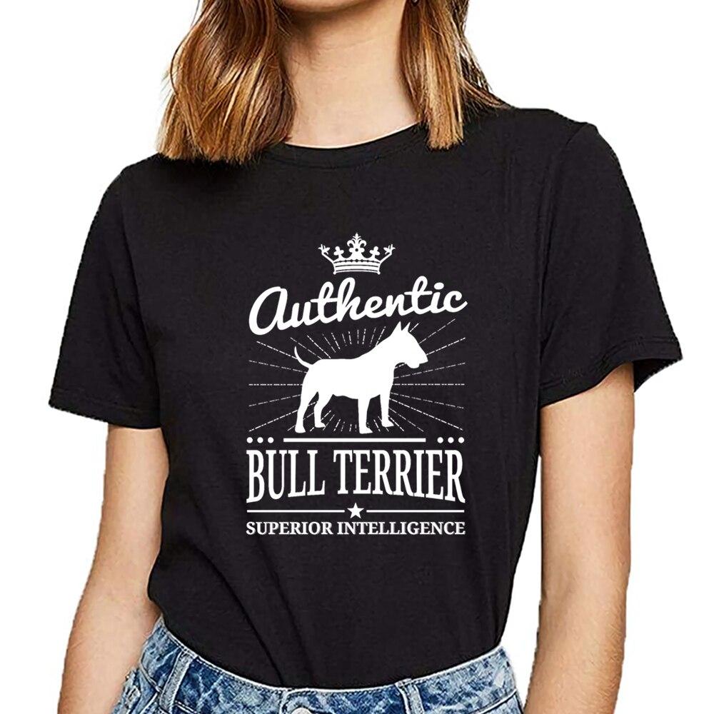 Tops camiseta mujer bull terrier diseño negro corto Mujer camiseta