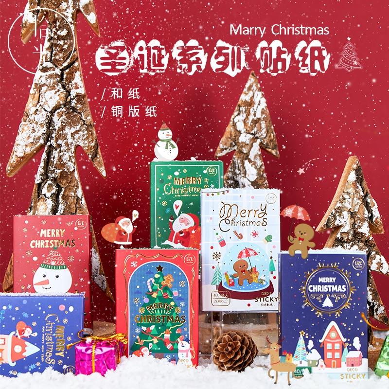 10 caixas diy bonito adesivos arvore de natal poster gingerbread boneco de neve para