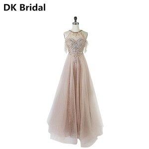 Sexy Evening Dress Beads Open Back A Line Long Evening Dresses  Vestido De Festa Bride Banquet Elegant Formal Party Prom Dress