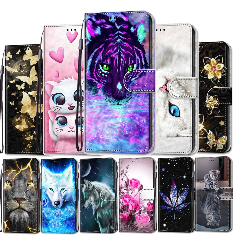 Phone Case For Xiaomi Redmi 6 6A 7 7A Flip Case Leather Cat Wolf Wallet Woman Stand Hold Cover Funda