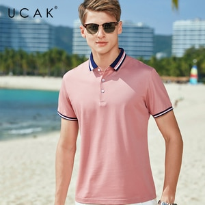 UCAK Brand Classic Turn-down Collar T-Shirt Men Clothes Summer New Fashion Streetwear Casual Solid Color Cotton Tee Tops U5606