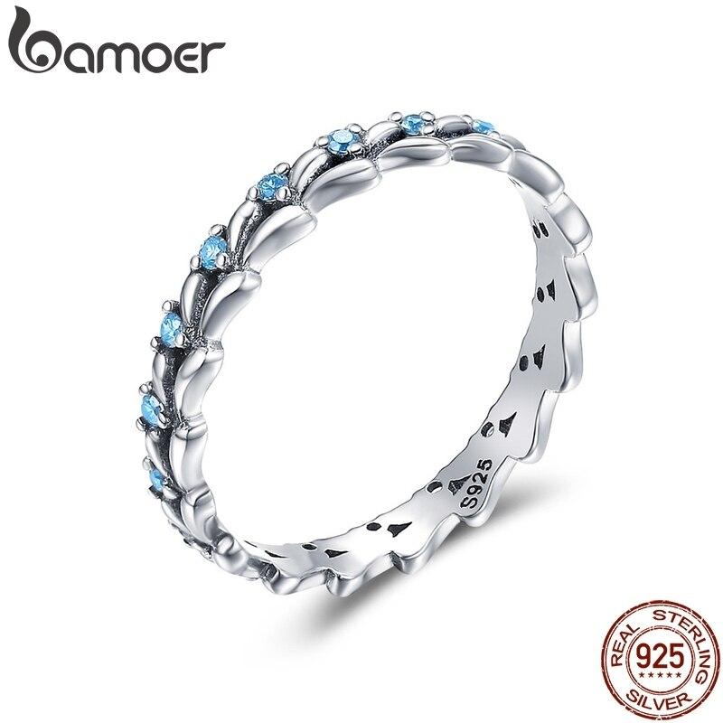 Женское кольцо BAMOER, штабелируемое кольцо из 100% стерлингового серебра 925 пробы с прозрачными фианитами и волнами, SCR162