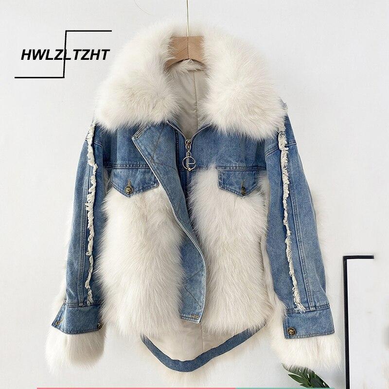 HWLZLTZHT 2021 الشتاء السيدات الثعلب الفراء خليط الدنيم معطف الفرو السترات الدافئة متعدد الألوان المرأة الملابس كبيرة الحجم دروبشيبينغ