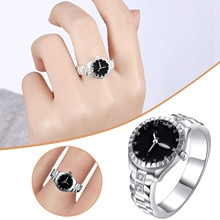 Silver Color Watch Ring Creative Gift Inlaid Zircon Silver Plated Ring Best Gifts For Women's Fashio