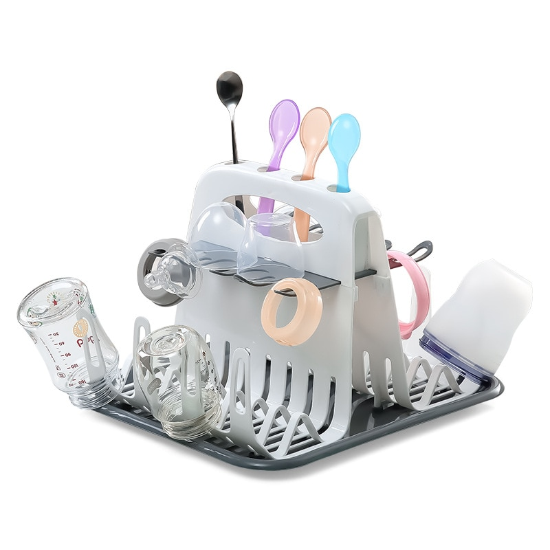 Portable Cleaning Dryer Baby Milk Bottle Drying Rack Bottle Dryer Holder for Feeding Bottles Accessories Drain Tray Water Cup