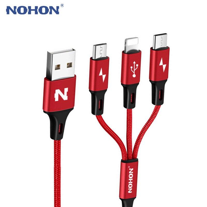 NOHON Micro tipo C Cable tipo USB-C 8pin 3 2 en 1 para iPhone 7 6 6S Plus iOS 10 9 8 Android Xiaomi LG Cable cargador de Cables