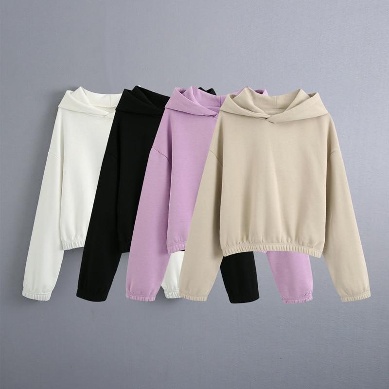 Женская толстовка с капюшоном, однотонная толстовка с капюшоном, модная уличная одежда, пуловеры с капюшоном, весна-осень 2021