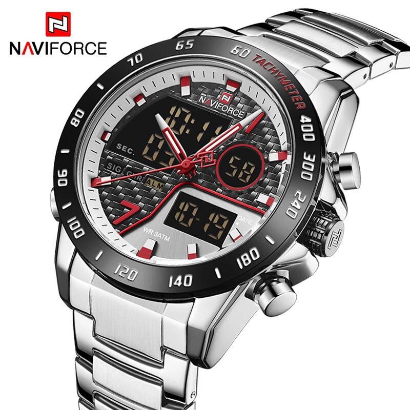 NAVIFORCE Fashion Men Watch Quartz Digital Male Clock Military Sport Stainless Steel Top Brand Luxury Silver Man Wristwatch 9171