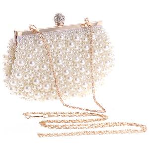 ASDS-Evening Wedding Clutch Handbag Pearl Bag Dress Dinner Bag Small Purse Bridesmaid Handbag White