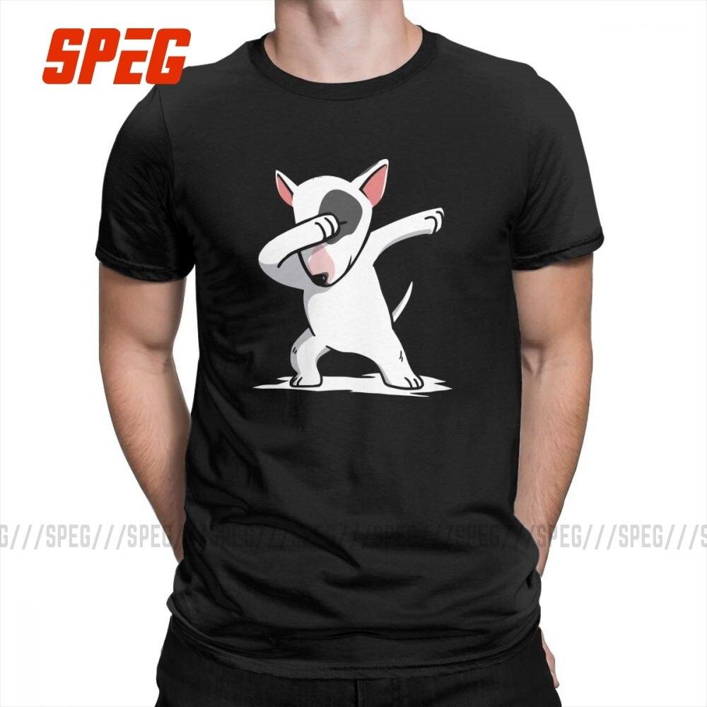 Camiseta divertida de Dabbing con Bull Terrier Inglés, camisetas Vintage de manga corta para hombre, Camiseta con cuello redondo, ropa de algodón puro de talla grande