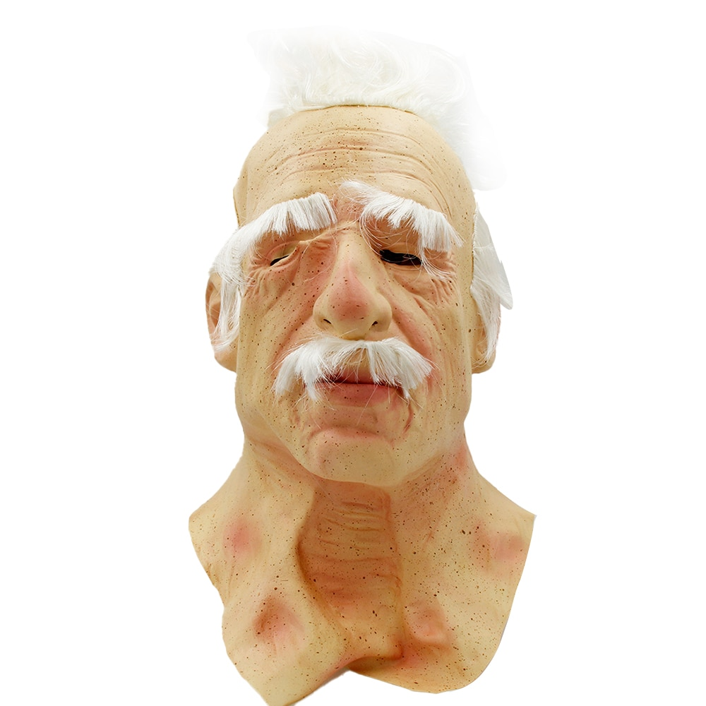 Old man latex mask white beard Halloween mask costume props horror movie party mask cosplay horror w