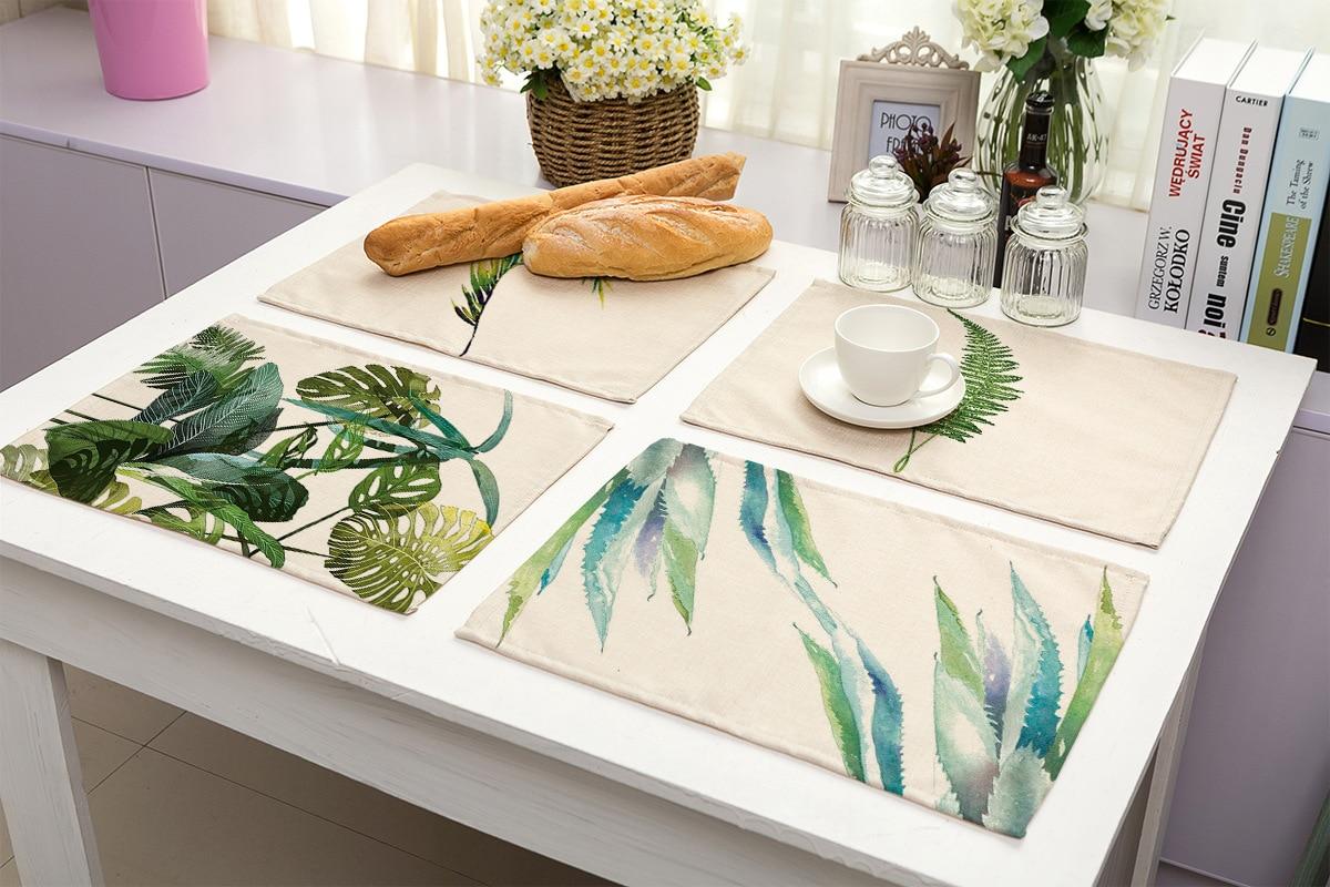 Тропические растения, Настольный коврик, кухонные столовые приборы, столовые коврики, хлопковые, льняные коврики, чашки, коврики для кухонн...